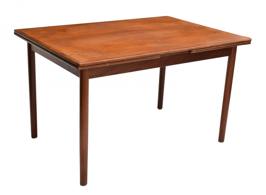 DANISH MID-CENTURY MODERN TEAK DRAW LEAF TABLE