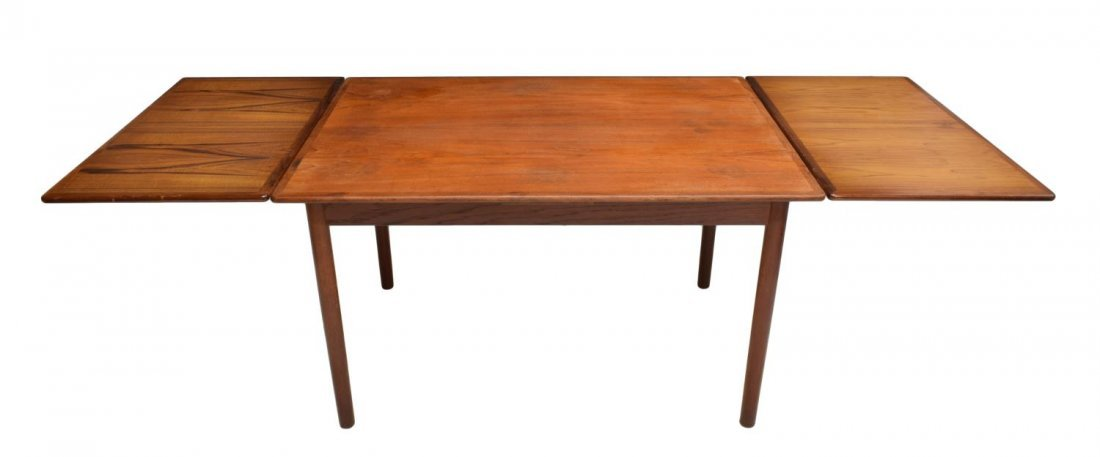 DANISH MID-CENTURY MODERN TEAK DRAW LEAF TABLE - 3