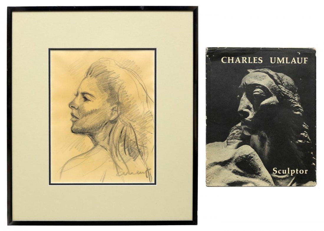 CHARLES UMLAUF(1911-1994)CHARCOAL PORTRAIT, A LADY
