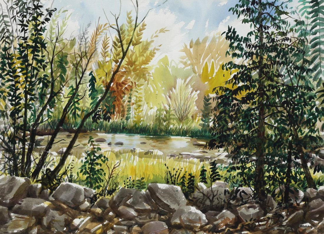 MICHAEL FRARY (TEXAS 1918-2005) MATTED WATERCOLOR
