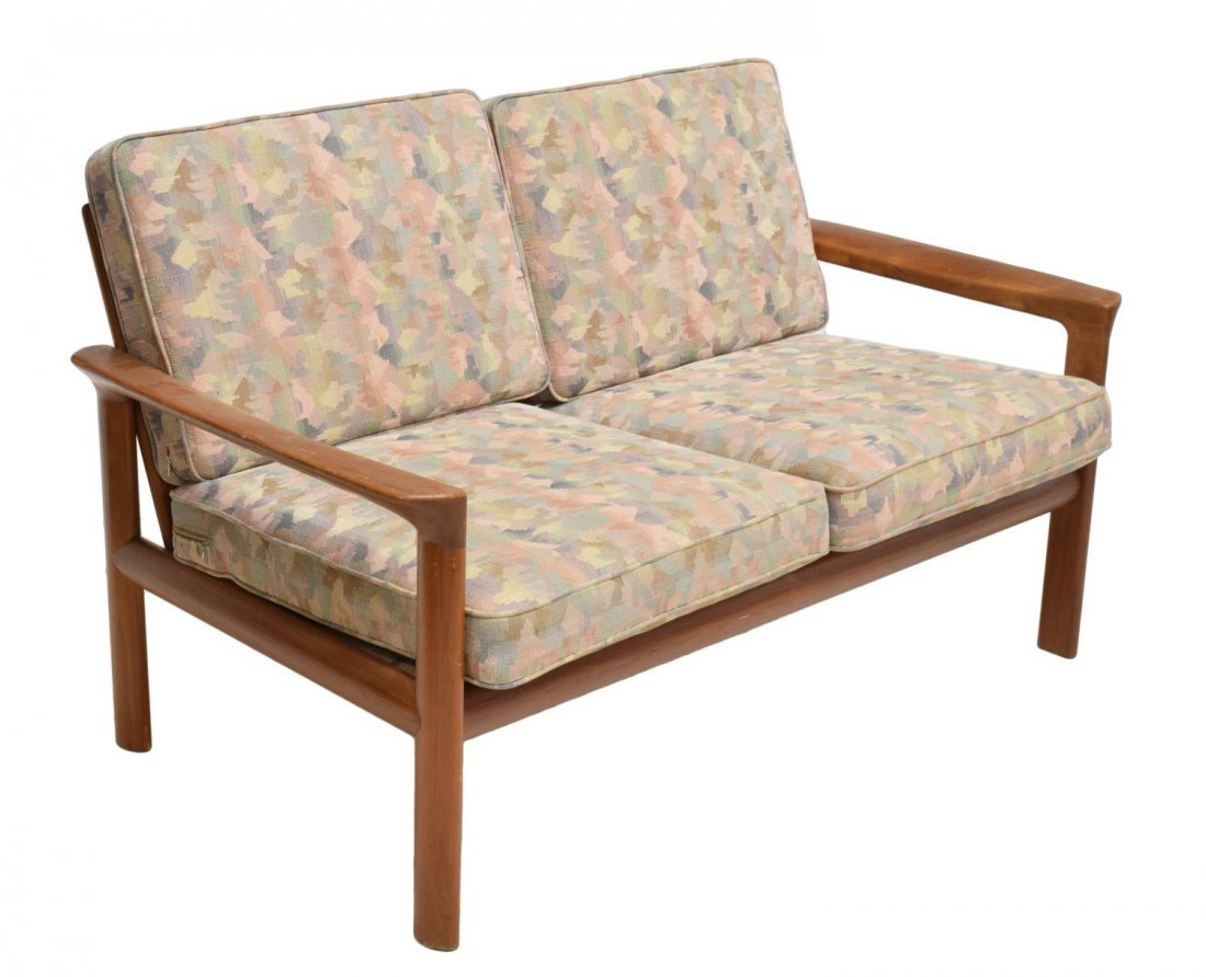 DANISH MID-CENTURY MODERN TEAK OPEN ARM SOFA