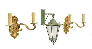 3 ITALIAN BRASS SCONCES  GREEN HANGING LANTERN