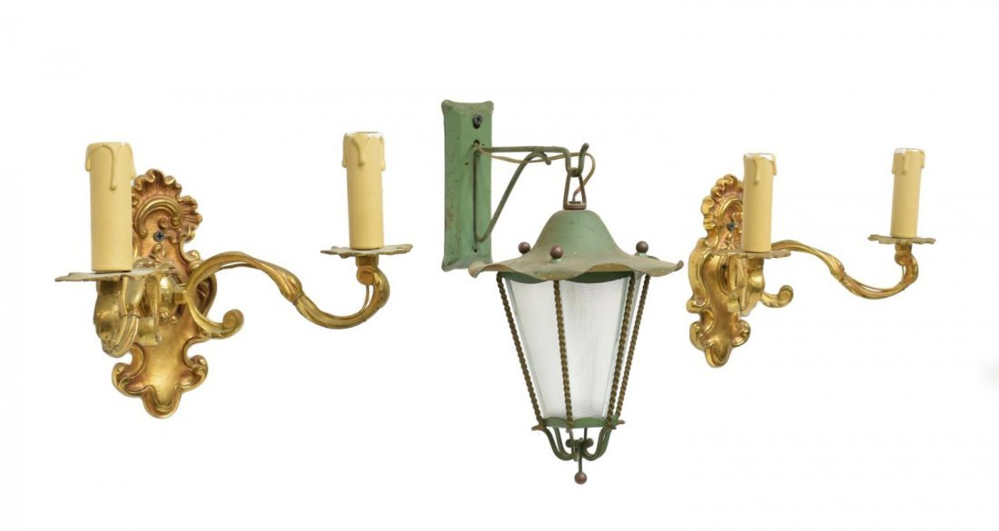 (3) ITALIAN BRASS SCONCES & GREEN HANGING LANTERN