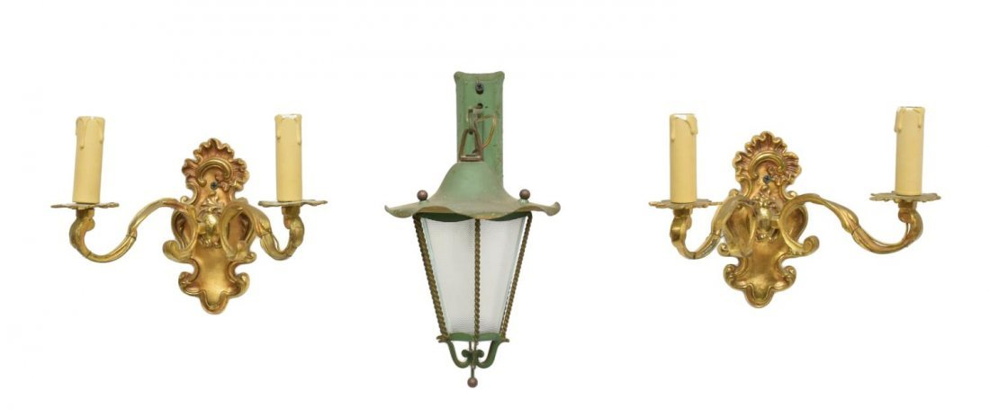 (3) ITALIAN BRASS SCONCES & GREEN HANGING LANTERN - 2
