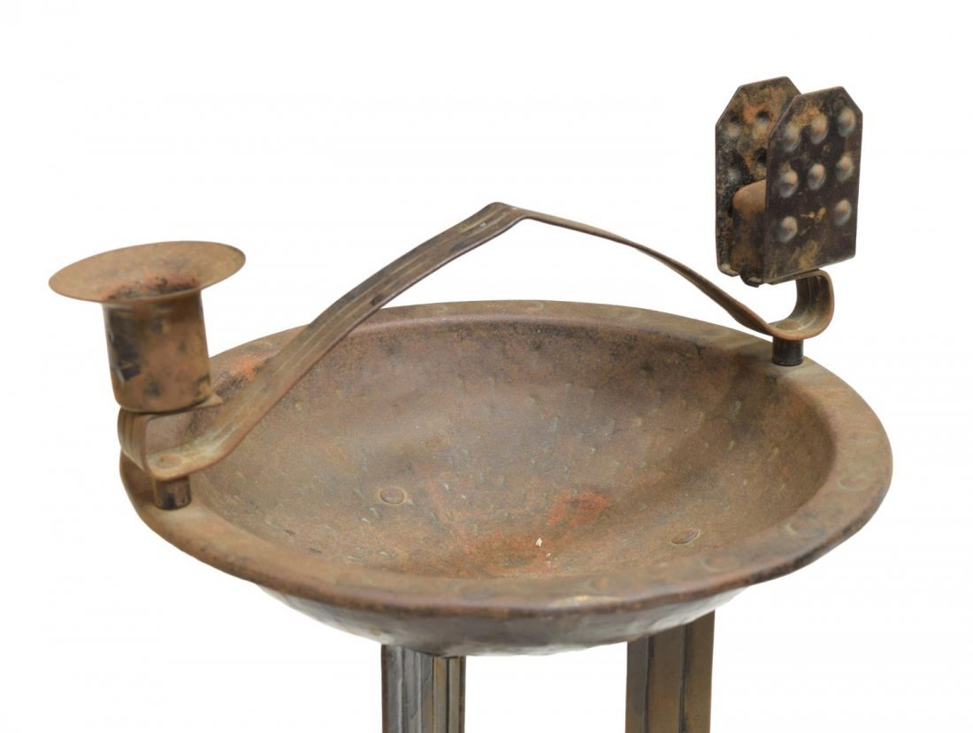 FRENCH IRON STANDING ASH TRAY, 20TH CENTURY