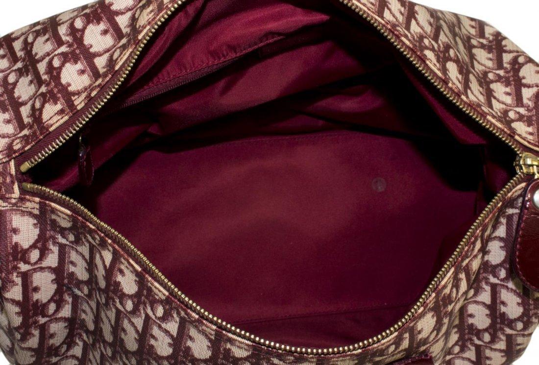 CHRISTIAN DIOR 'BOSTON' RED MONOGRAM CANVAS BAG - 5