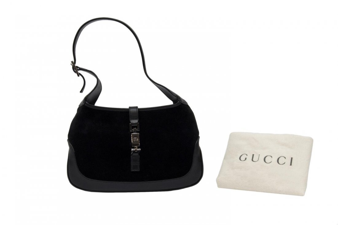 GUCCI BLACK SUEDE AND LEATHER SHOULDER BAG