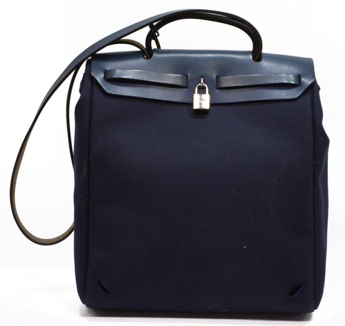 HERMES 'HER BAG' NAVY LEATHER & CANVAS HANDBAG - 2