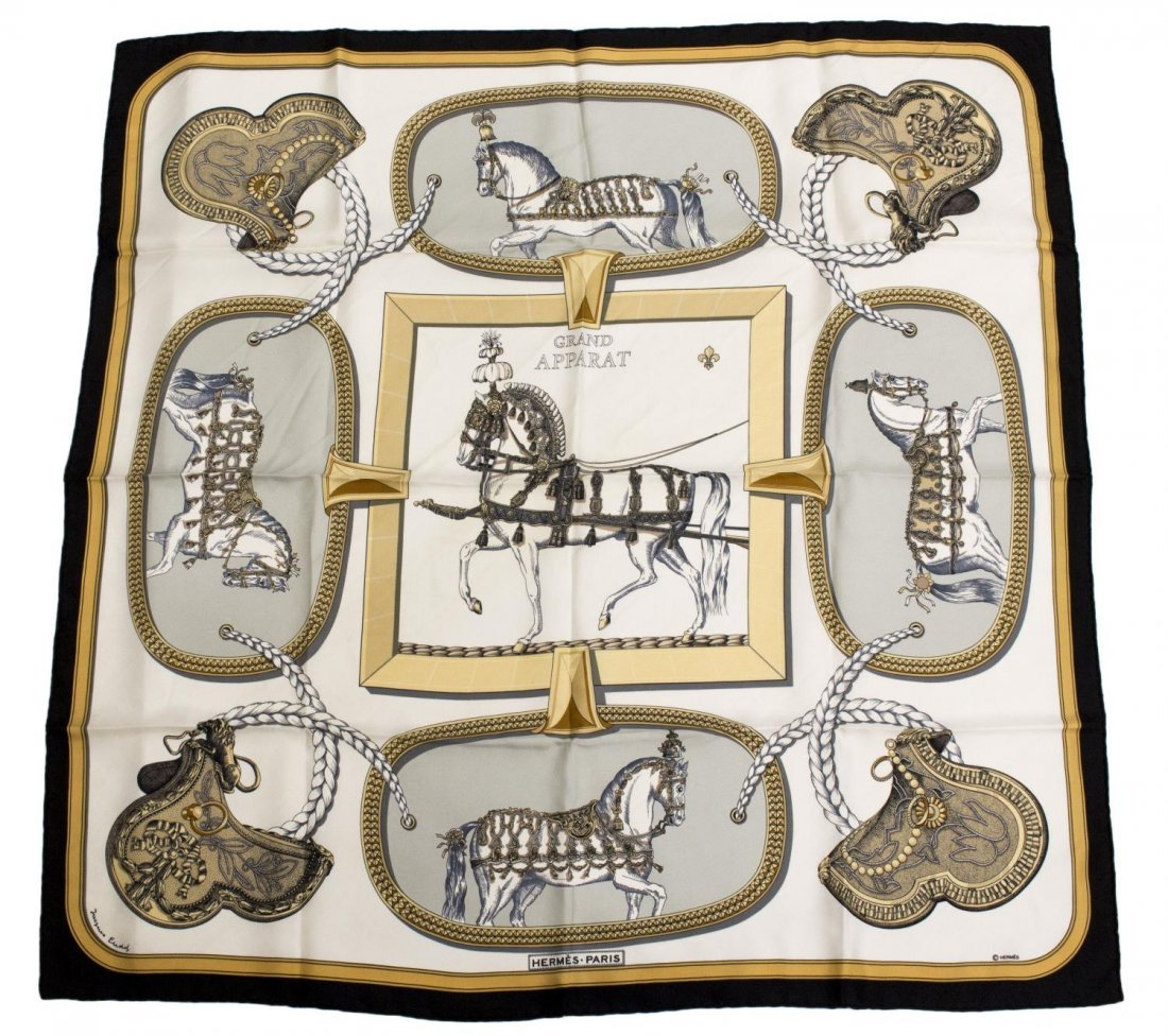 HERMES SILK TWILL 'GRAND APPARAT' SQUARE SCARF