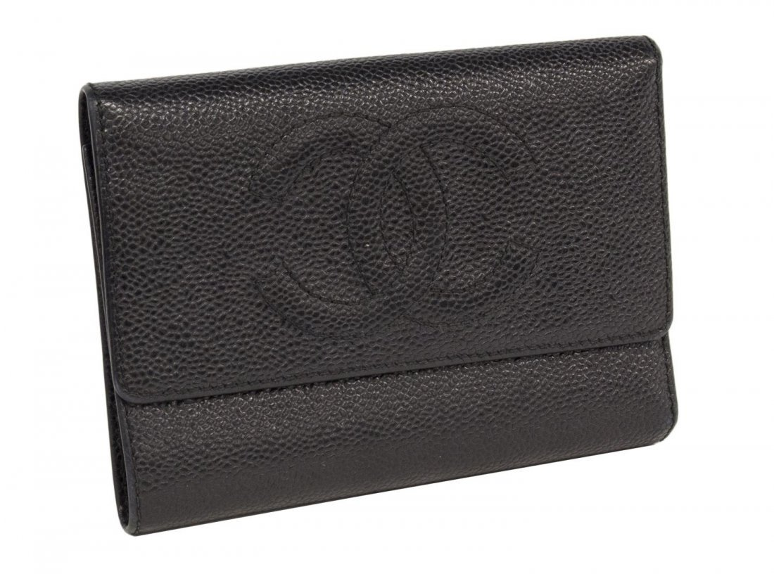 CHANEL BLACK CAVIAR LEATHER TRI-FOLD WALLET