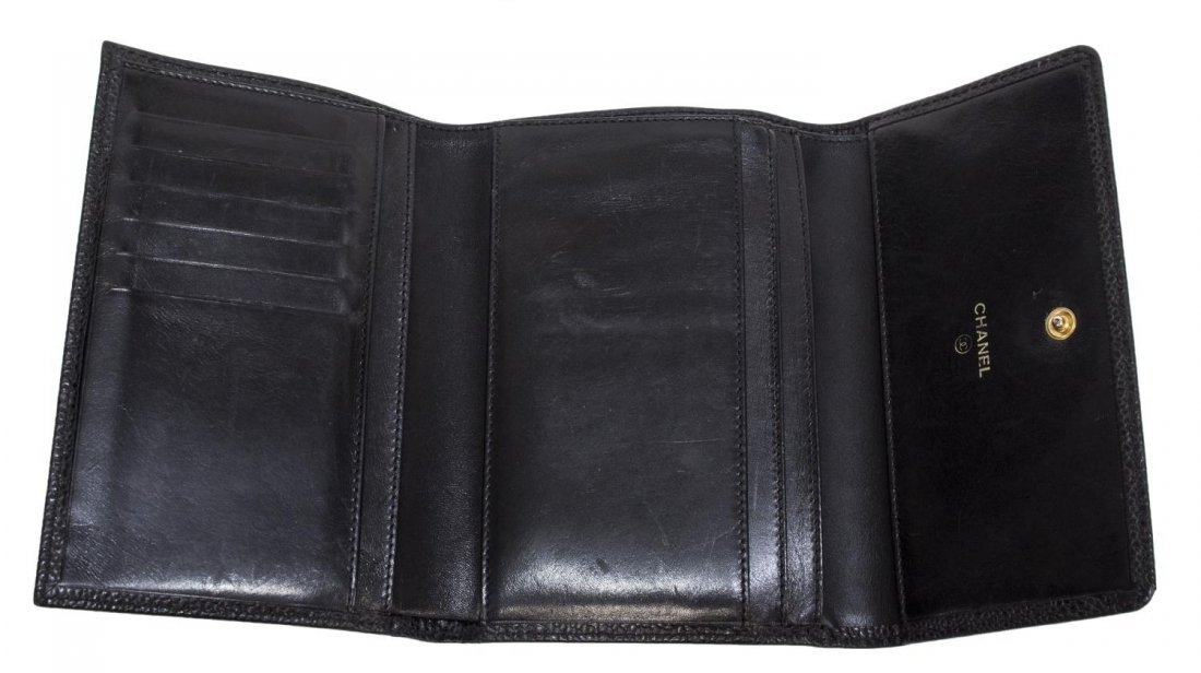 CHANEL BLACK CAVIAR LEATHER TRI-FOLD WALLET - 4