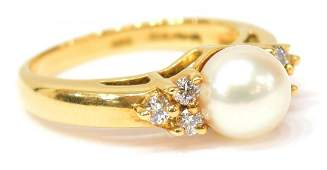 LADIES TIFFANY  CO 18K GOLD PEARL  DIAMOND RING