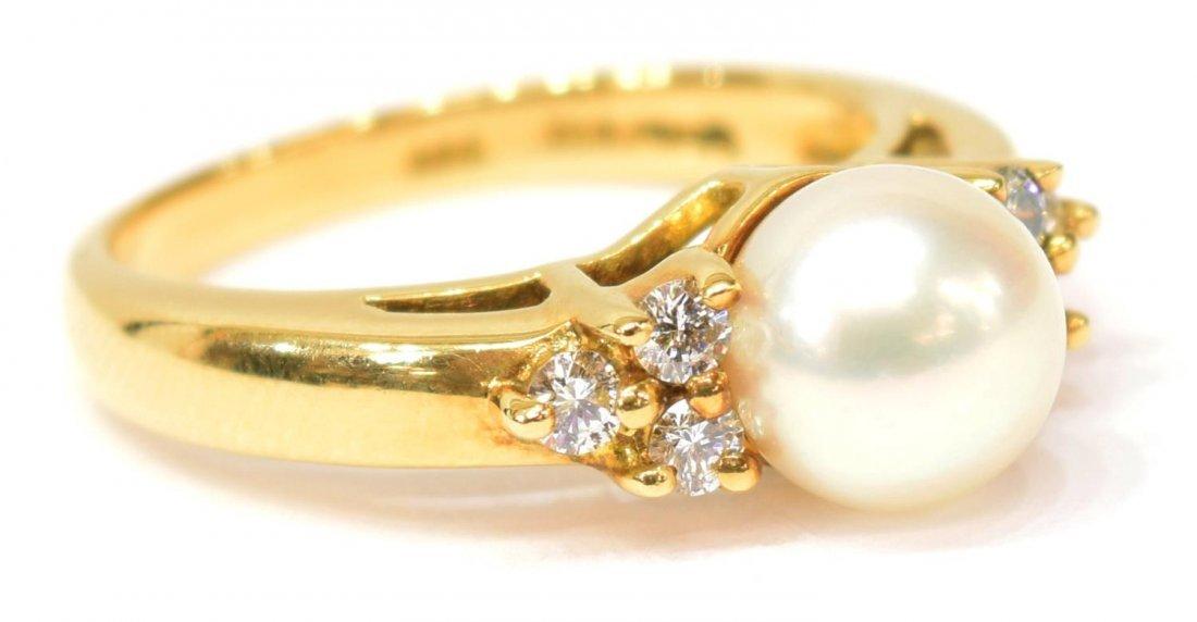 LADIES TIFFANY & CO 18K GOLD PEARL & DIAMOND RING