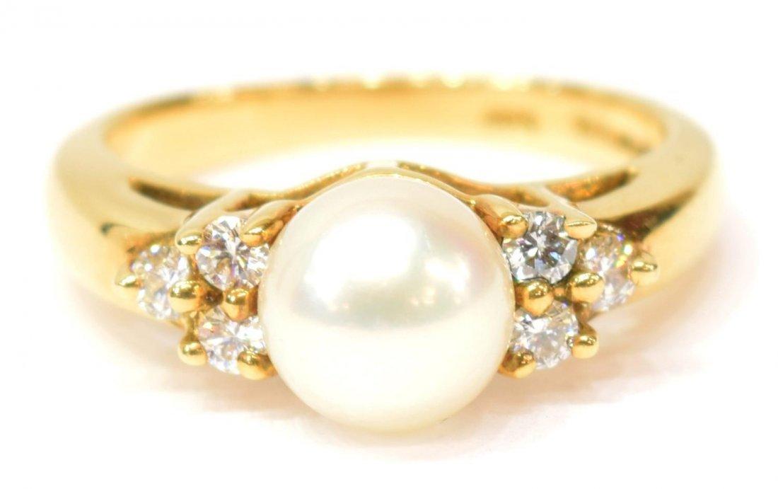 LADIES TIFFANY & CO 18K GOLD PEARL & DIAMOND RING - 2