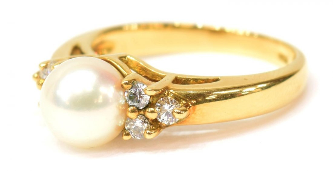 LADIES TIFFANY & CO 18K GOLD PEARL & DIAMOND RING - 3