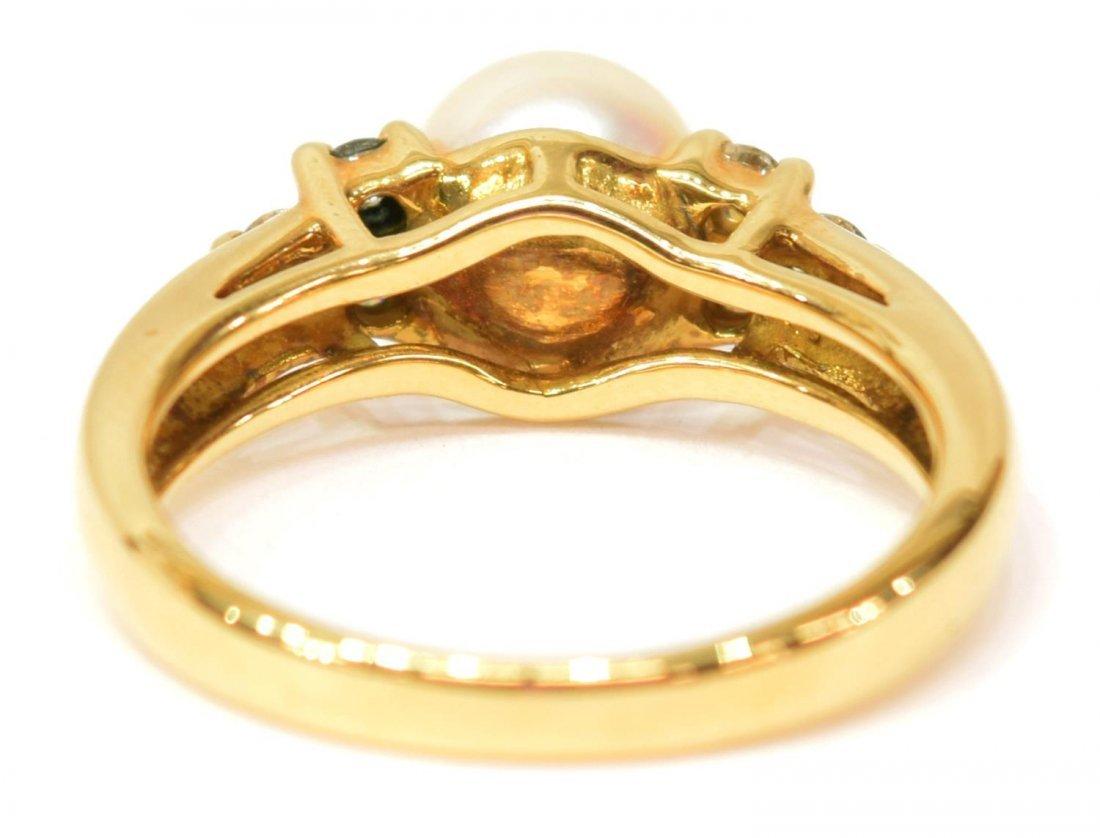 LADIES TIFFANY & CO 18K GOLD PEARL & DIAMOND RING - 4