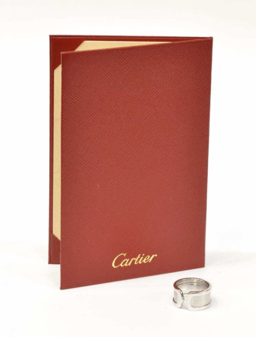 """LADIES CARTIER 18KT WHITE GOLD """"DOUBLE C"""" RING"""