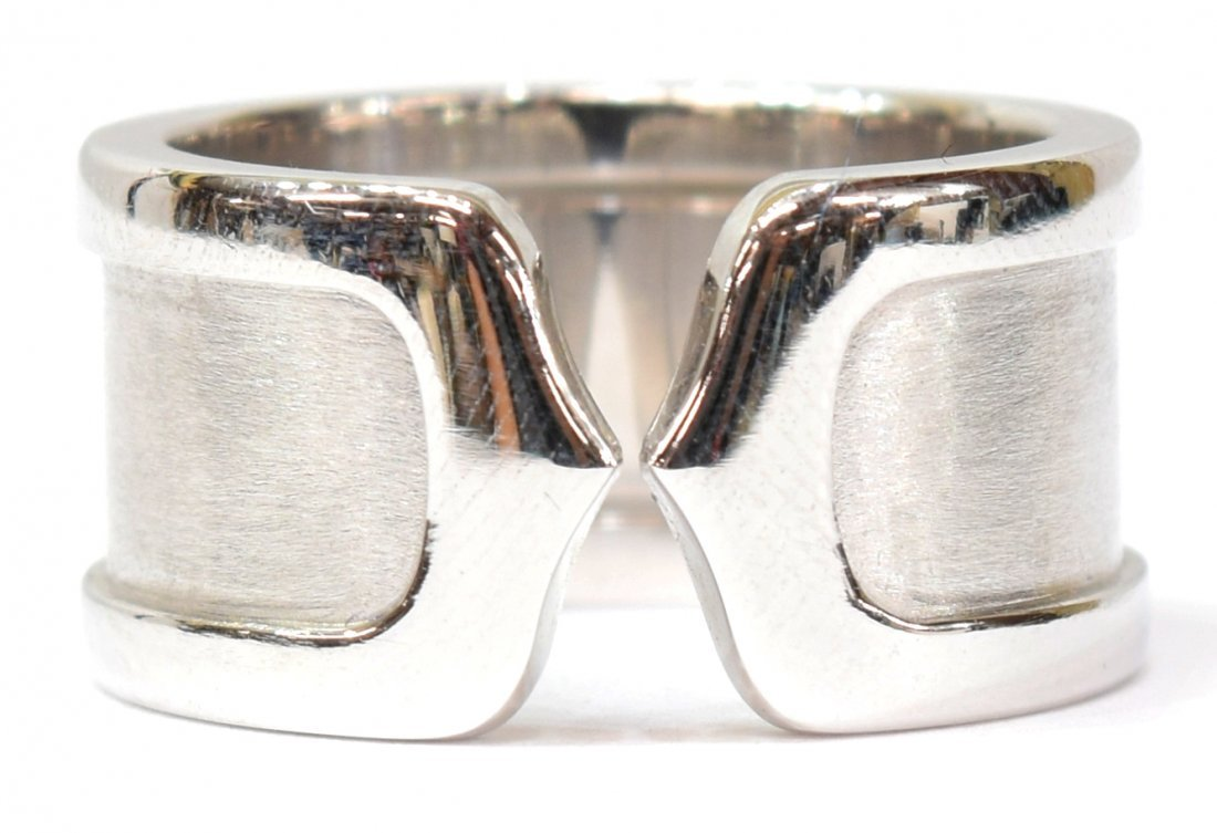 """LADIES CARTIER 18KT WHITE GOLD """"DOUBLE C"""" RING - 3"""