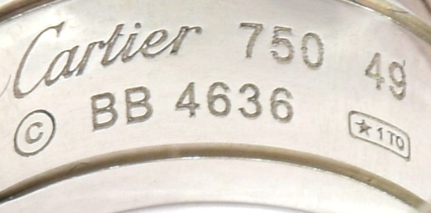 """LADIES CARTIER 18KT WHITE GOLD """"DOUBLE C"""" RING - 4"""
