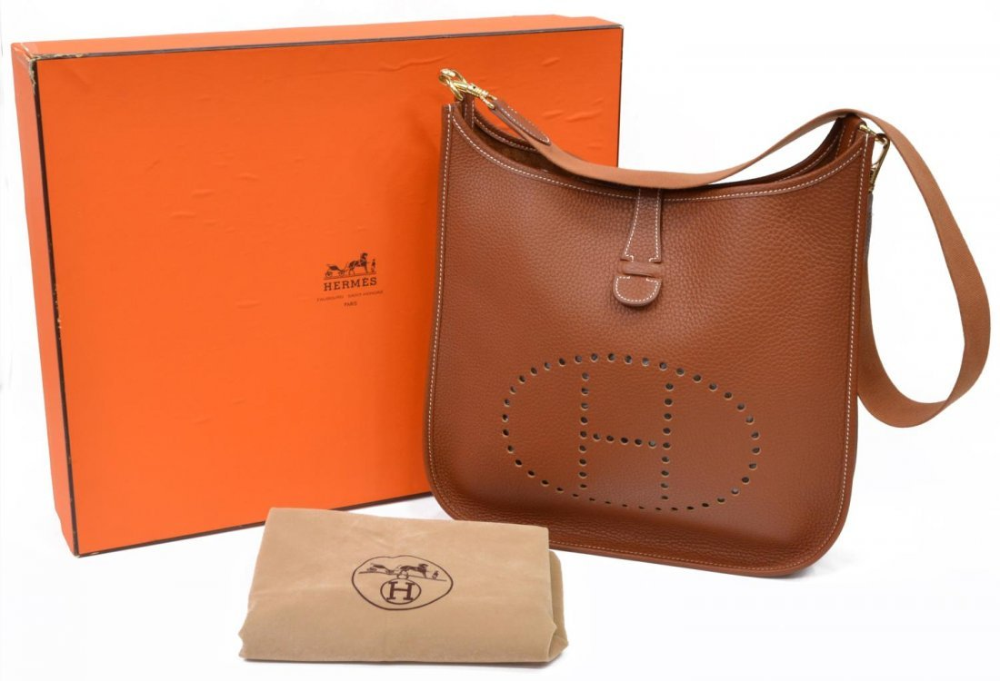 HERMES 'EVELYNE GM' TAN LEATHER SADDLE BAG C.1999