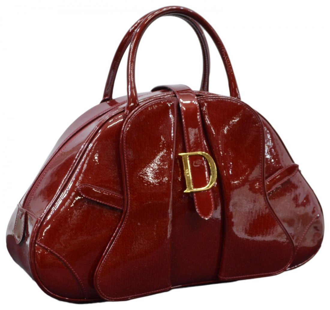 DIOR 'PAILLETTE' RED PATENT LEATHER BOWLING BAG