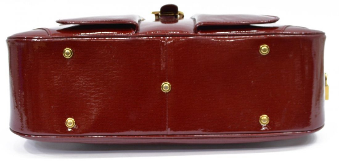 DIOR 'PAILLETTE' RED PATENT LEATHER BOWLING BAG - 3
