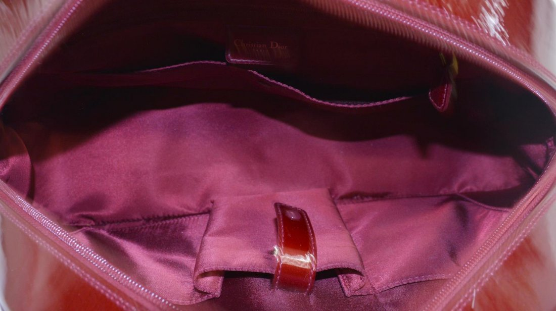 DIOR 'PAILLETTE' RED PATENT LEATHER BOWLING BAG - 4