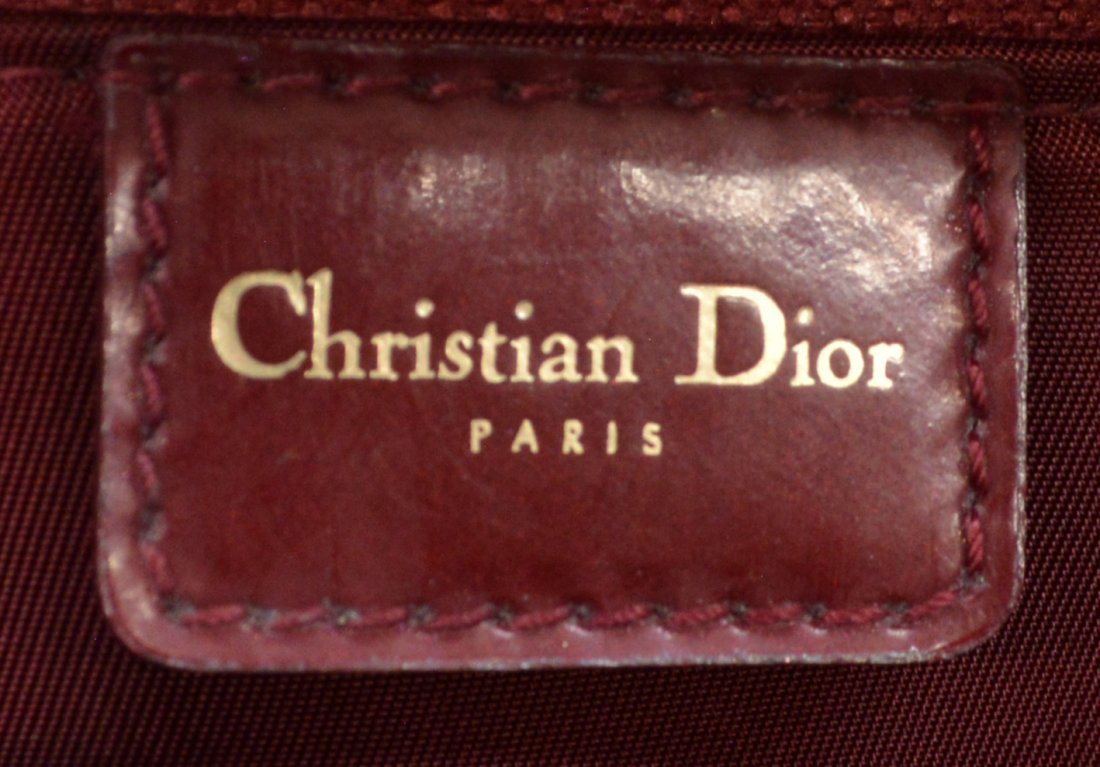 DIOR 'PAILLETTE' RED PATENT LEATHER BOWLING BAG - 5