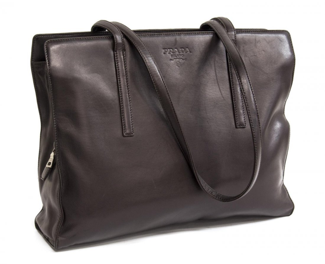PRADA DARK BROWN LEATHER DOUBLE HANDLED TOTE