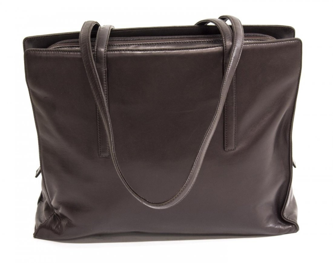 PRADA DARK BROWN LEATHER DOUBLE HANDLED TOTE - 2