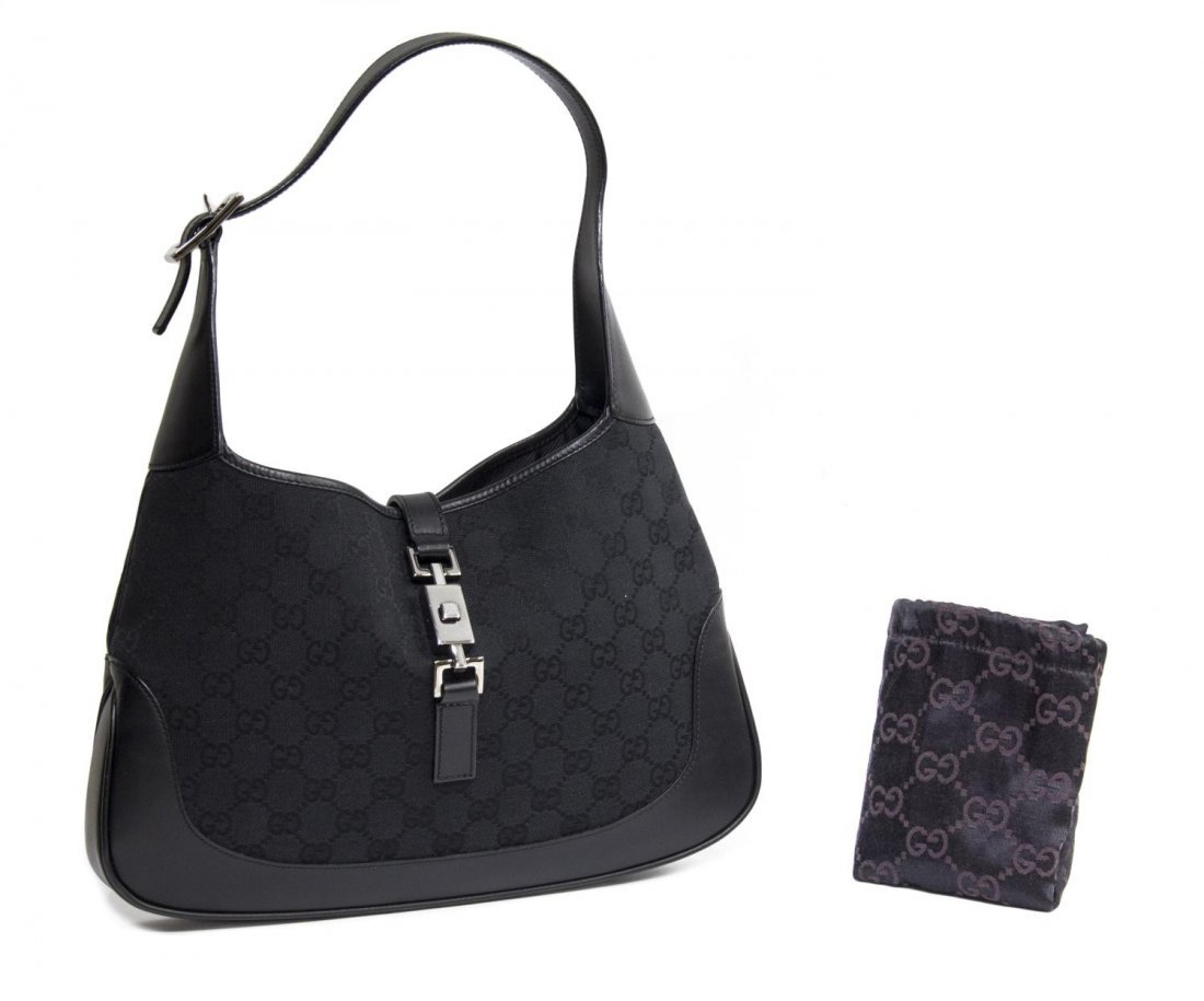 GUCCI 'JACKIE' BLACK LEATHER & MONOGRAM CANVAS BAG
