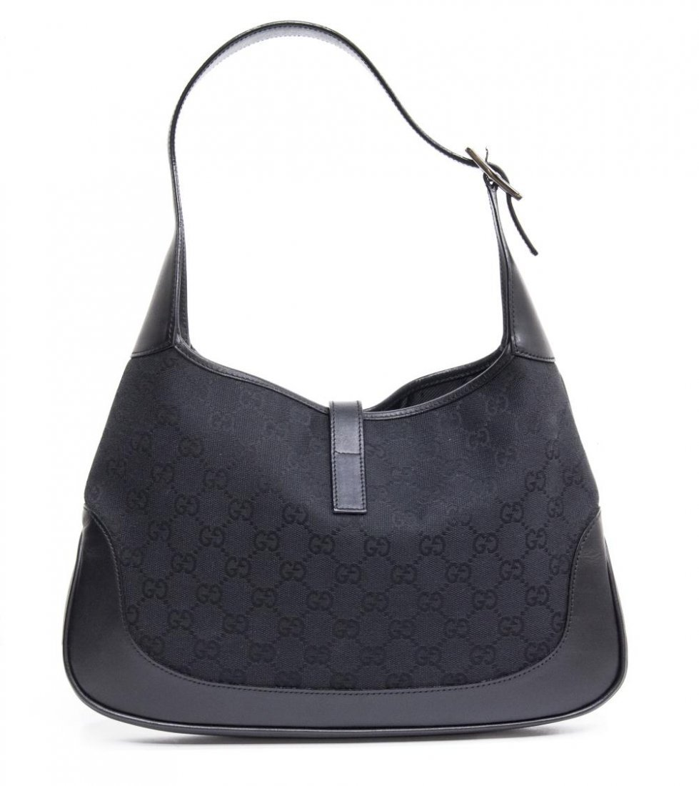 GUCCI 'JACKIE' BLACK LEATHER & MONOGRAM CANVAS BAG - 2