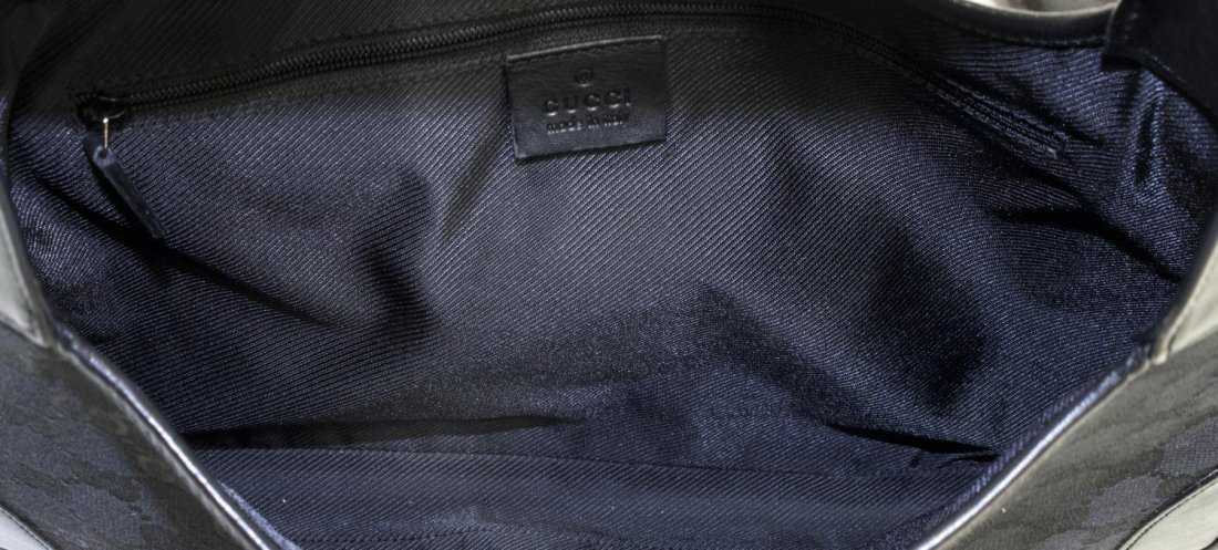 GUCCI 'JACKIE' BLACK LEATHER & MONOGRAM CANVAS BAG - 5