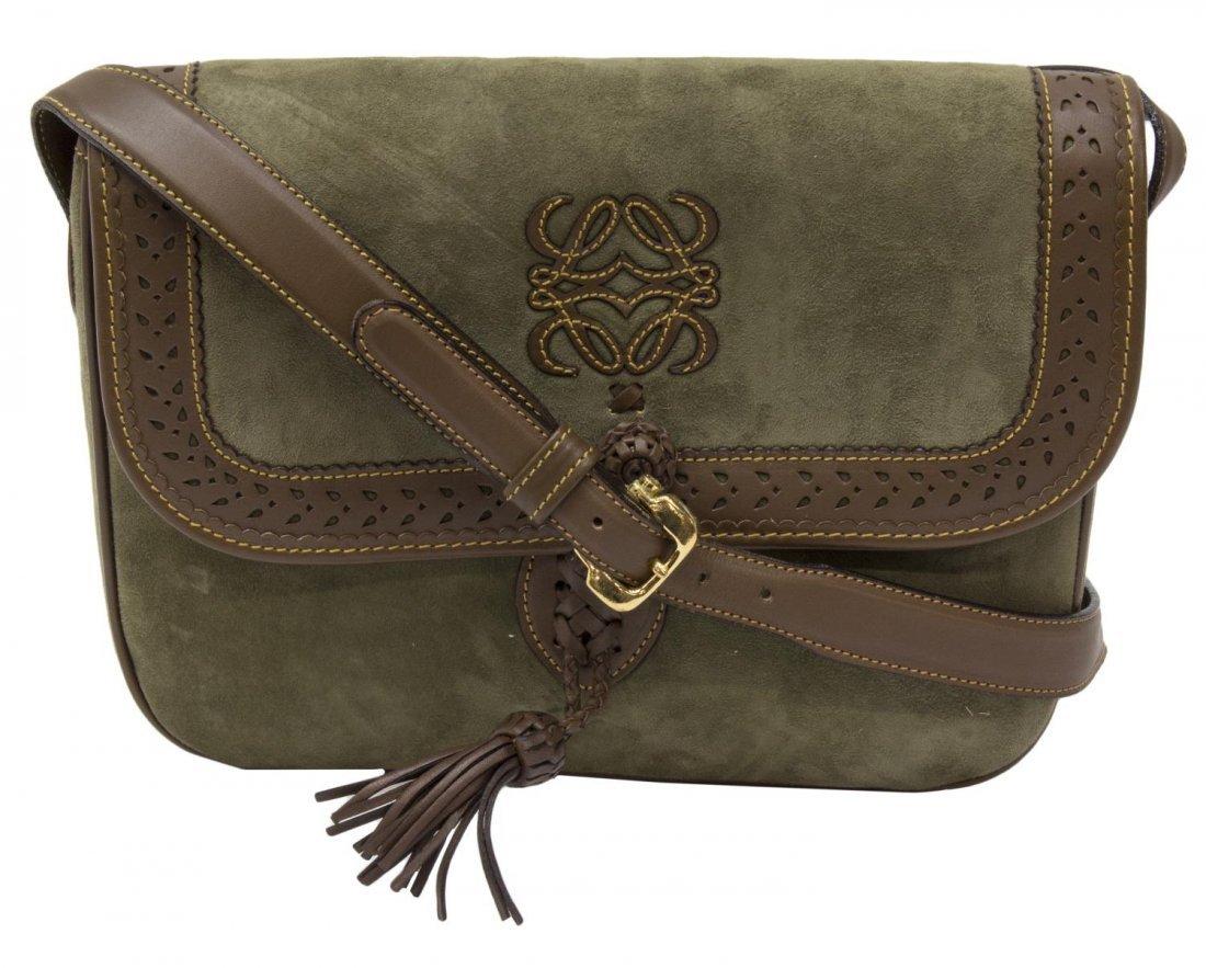 LOEWE GREEN SUEDE & BROWN LEATHER SHOULDER BAG