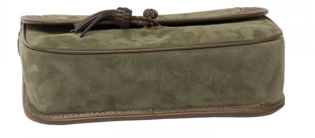 LOEWE GREEN SUEDE & BROWN LEATHER SHOULDER BAG - 3