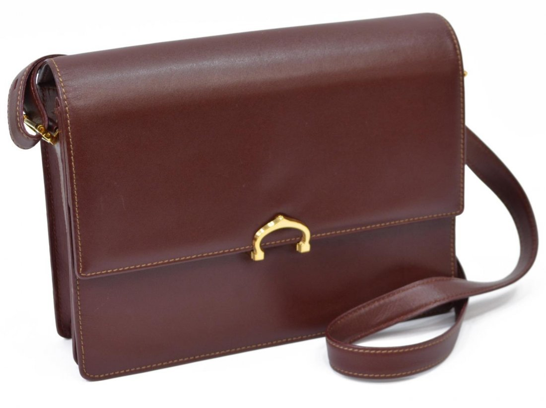 CARTIER BURGUNDY LEATHER CROSS BODY BAG