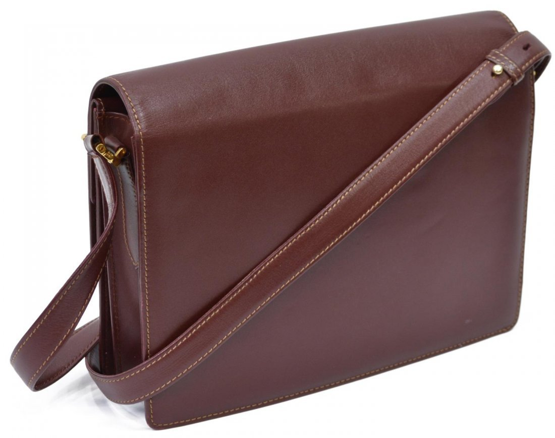 CARTIER BURGUNDY LEATHER CROSS BODY BAG - 2