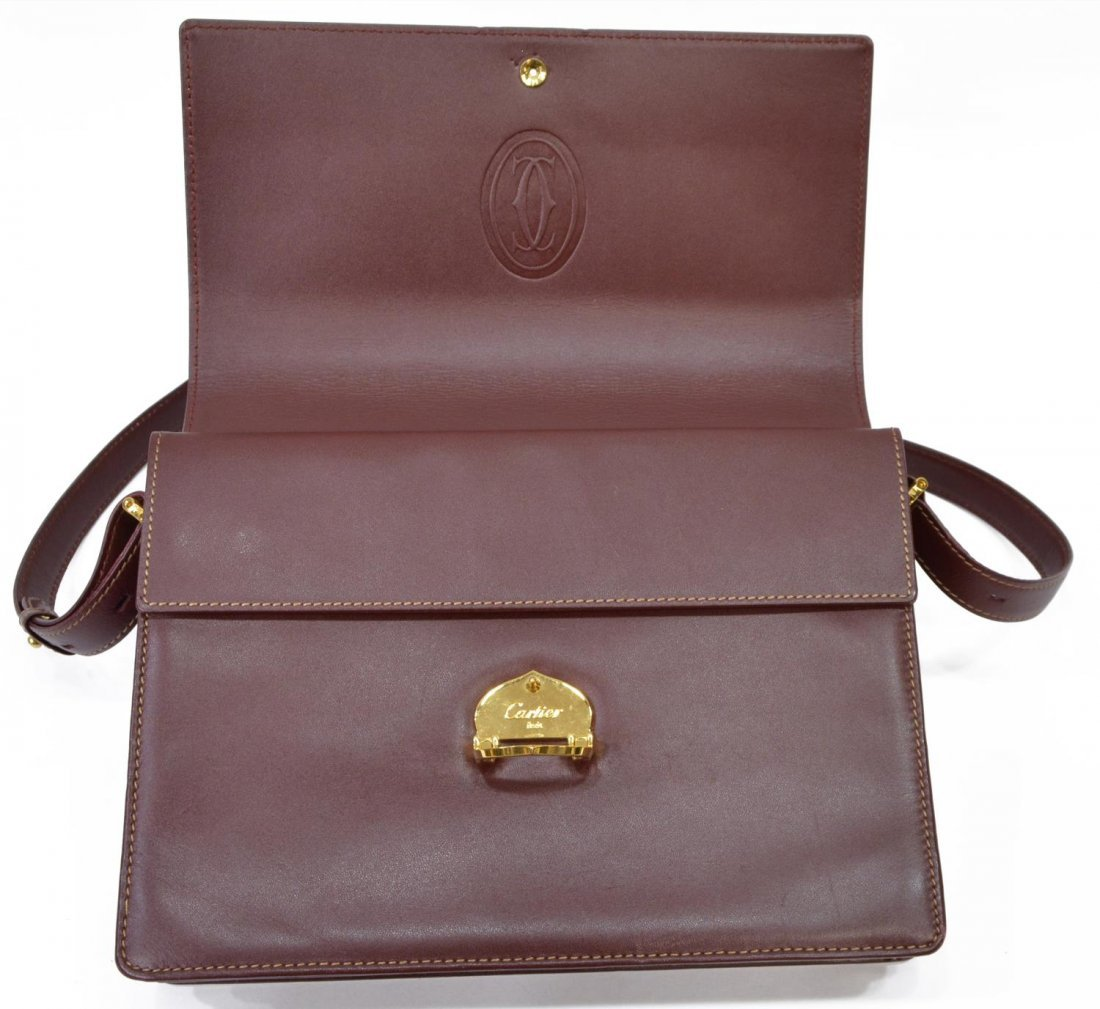CARTIER BURGUNDY LEATHER CROSS BODY BAG - 4