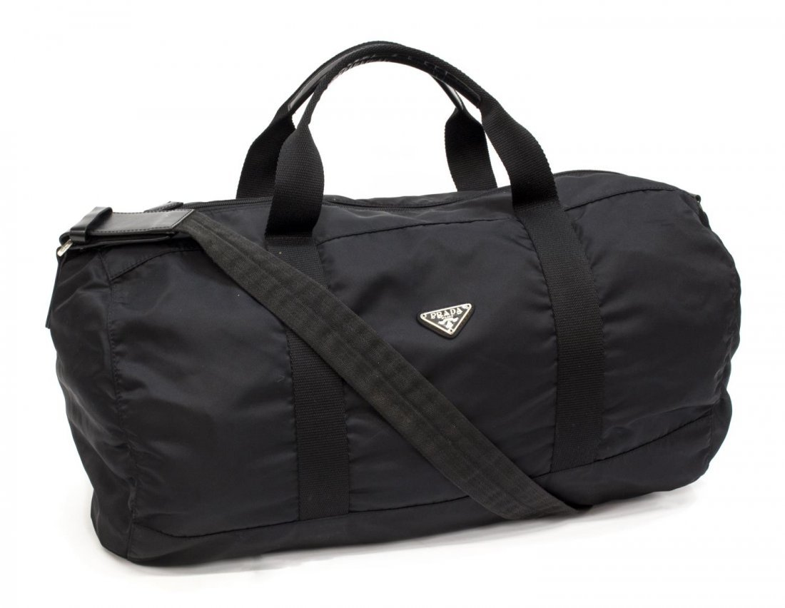 PRADA NYLON AND LEATHER TRAVELING DUFFLE BAG