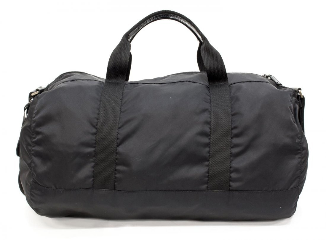 PRADA NYLON AND LEATHER TRAVELING DUFFLE BAG - 2