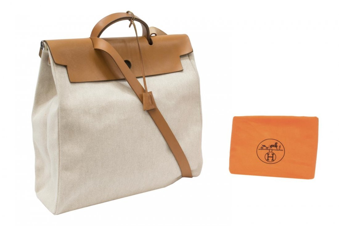 HERMES 'HERBAG GM' CHANGABLE CANVAS SHOULDER BAG