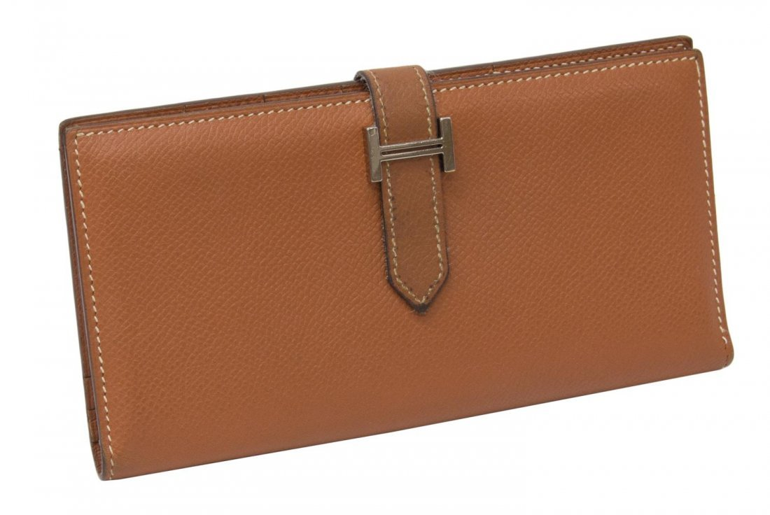 HERMES 'BEARN' CIGARE BROWN EPSOM LEATHER WALLET