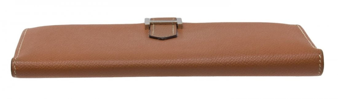 HERMES 'BEARN' CIGARE BROWN EPSOM LEATHER WALLET - 3