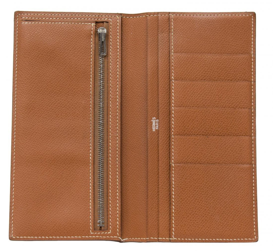 HERMES 'BEARN' CIGARE BROWN EPSOM LEATHER WALLET - 4