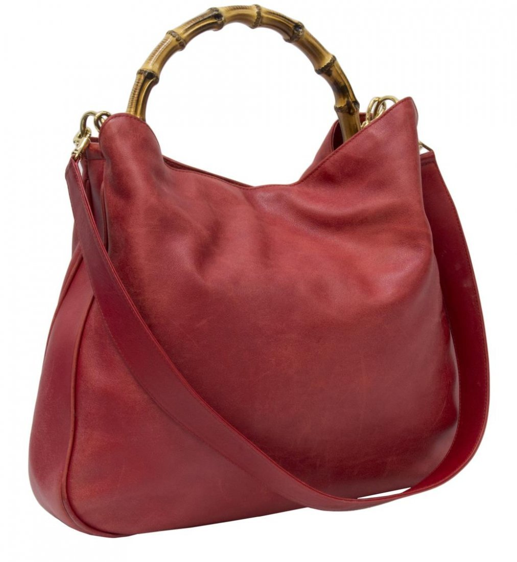 GUCCI RED LEATHER & BAMBOO SHOULDER TOTE BAG