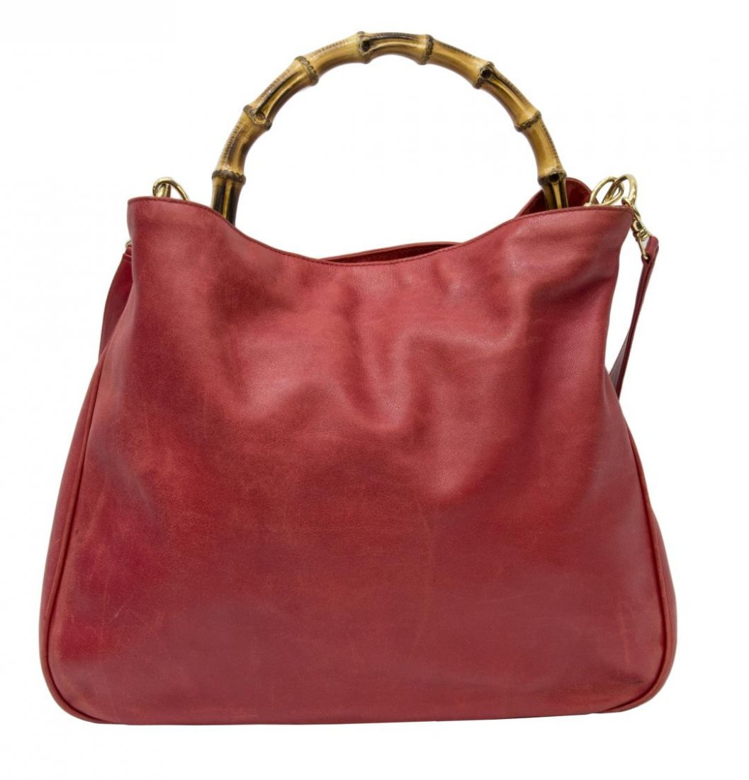 GUCCI RED LEATHER & BAMBOO SHOULDER TOTE BAG - 2