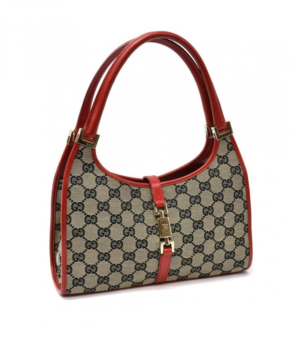 GUCCI 'ABBEY' RED LEATHER & MONOGRAM CANVAS BAG