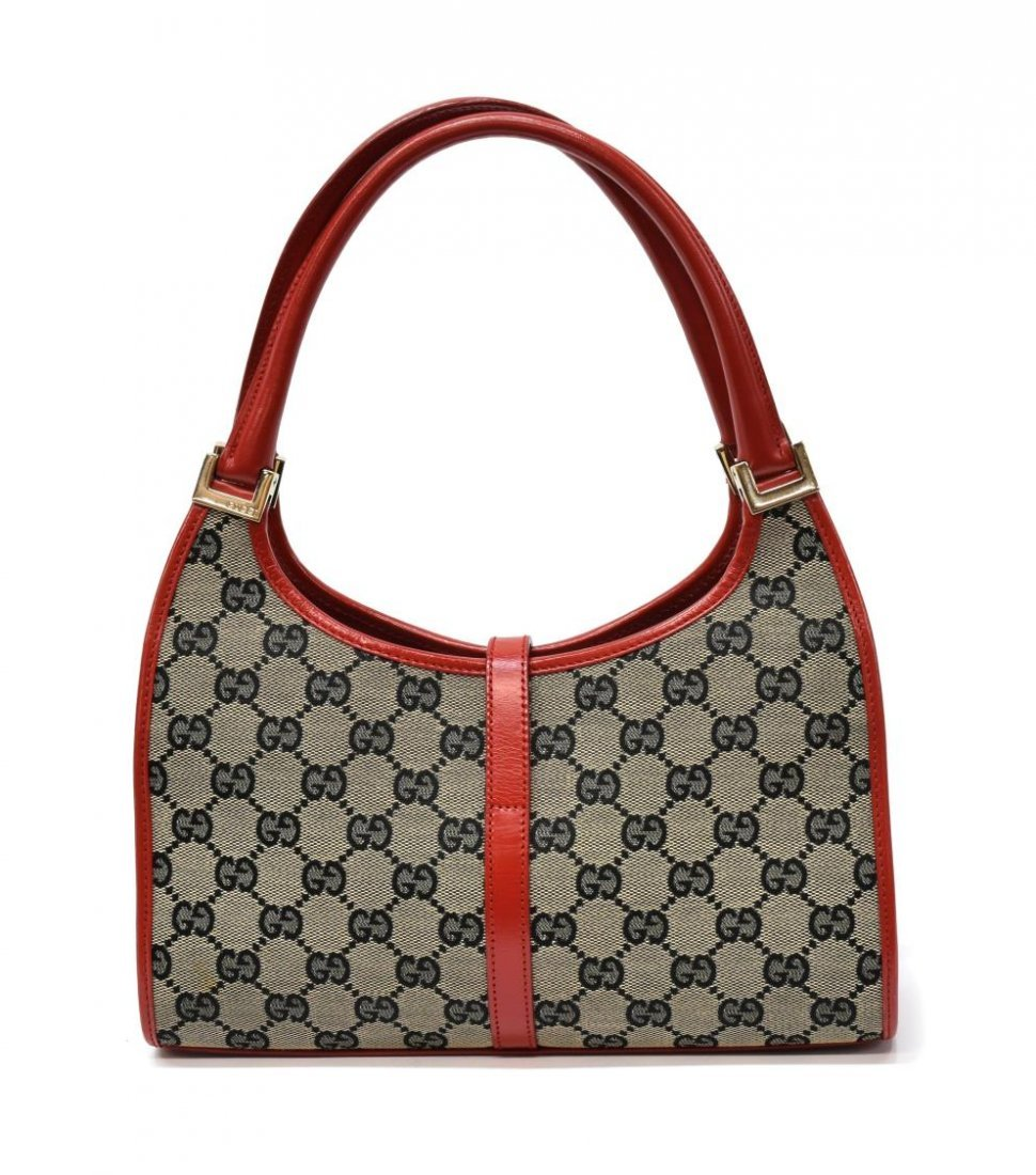 GUCCI 'ABBEY' RED LEATHER & MONOGRAM CANVAS BAG - 2