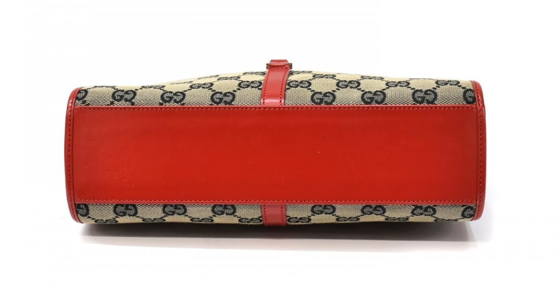 GUCCI 'ABBEY' RED LEATHER & MONOGRAM CANVAS BAG - 3