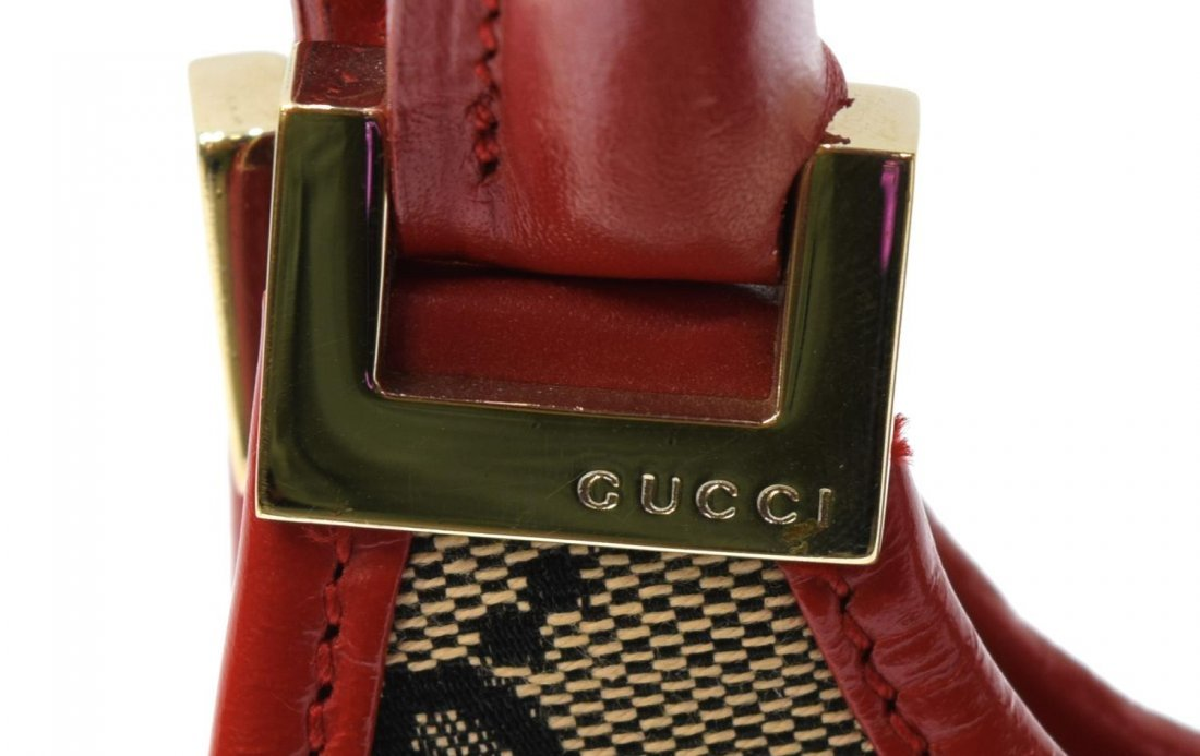 GUCCI 'ABBEY' RED LEATHER & MONOGRAM CANVAS BAG - 4
